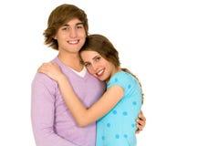 Abrazo joven de los pares Imagen de archivo libre de regalías