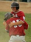 Abrazo mayor de la serie de mundo del béisbol de la liga Imágenes de archivo libres de regalías