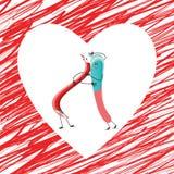 Abrazo rojo del lápiz y del borrador stock de ilustración