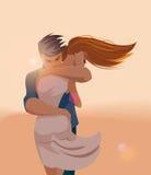Abrazos de un par cariñoso ilustración del vector
