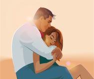 Abrazos de un par cariñoso libre illustration