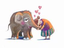 Abrazos del elefante Foto de archivo