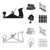 Abre una sesión una pila, avión, árbol, escalera con las barandillas Iconos determinados de la colección de la serrería y de la m Imagen de archivo