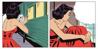 Abreisezug Nach der Trennung Mädchen ist traurig Stockbilder