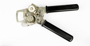 Abrelatas con el levantador del casquillo aislado en el fondo blanco Abrelatas del acero inoxidable aislado en el fondo blanco Po Fotos de archivo