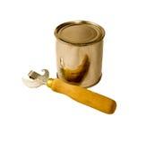 Abrelatas y lata Foto de archivo libre de regalías