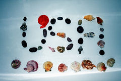 Abreviatura de los E.E.U.U. de cáscaras y de rocas Imagen de archivo