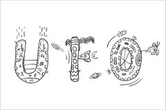 Abreviatura dibujada mano del UFO ilustración del vector