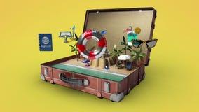Abrió un bolso que viajaba del vintage, tronco, se preparan para viajar para las vacaciones de verano, viaje 3 ilustración del vector