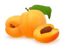 Abricot avec la feuille verte, fruit se trouvant de son côté, à moitié Photo stock
