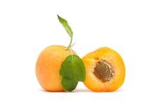 Abricot avec la lame verte Photographie stock