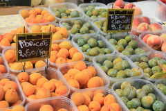 Abricots, peaches and Plums. A group of abricots, peaches and plums on a local market in Bedoin, France Stock Photo