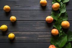 Abricots sur une table en bois noire images libres de droits