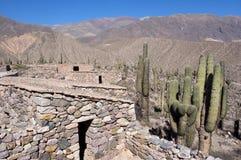Abrigando as ruínas - pucara de tilcara/fortificação do pre-Inca - jujuy, Argentina fotografia de stock
