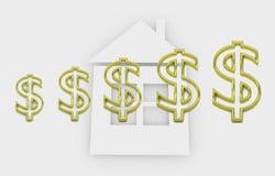 Abrigando a finança - ilustração conceptual com símbolos do dólar Foto de Stock