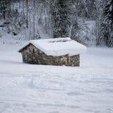 Abrigo agrícola no inverno Foto de Stock