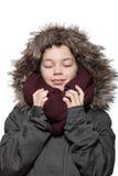 Abrigo de invierno que lleva de la muchacha, retrato Fotografía de archivo libre de regalías