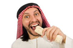 Abrigo earing del hombre árabe aislado en blanco Fotografía de archivo libre de regalías