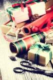 Abrigo hecho a mano por regalos de Navidad Imágenes de archivo libres de regalías