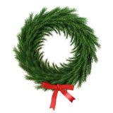 Abrigo verde de la Navidad con la cinta roja aislada en el fondo blanco Imagen de archivo libre de regalías