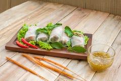 Abrigos del arroz de las verduras frescas - Kuay Tiew Lui Suan Imagen de archivo