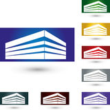 Abrigue bens imobiliários abstratos, e logotipo do mediador imobiliário Imagem de Stock