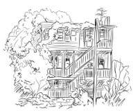 Abrigue com linhas de árvores, vetor ilustração do vetor