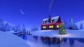 Abrigue e rio congelado na noite nevado do inverno Fotografia de Stock Royalty Free