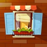Abrigue a ilustração dos desenhos animados do vetor da fachada de obturadores e do vaso de flores velhos da janela dos apartament ilustração royalty free