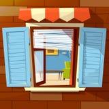 Abrigue a ilustração dos desenhos animados do vetor da fachada da janela da opinião velha ou moderna dos obturadores e da sala da ilustração stock