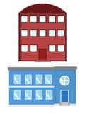 Abrigue a ilustração Exterior home ajustado no estilo liso Casa moderna e tradicional Fotografia de Stock Royalty Free