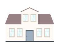 Abrigue a ilustração Exterior home ajustado no estilo liso Casa moderna e tradicional Fotos de Stock Royalty Free