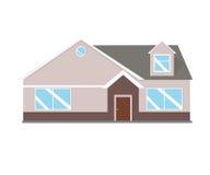 Abrigue a ilustração Exterior home ajustado no estilo liso Casa moderna e tradicional Fotografia de Stock