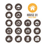 Abrigue o ícone Casas dos bens imobiliários?, planos para a venda ou para o aluguel Ilustração do vetor Foto de Stock Royalty Free