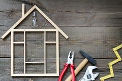 Abrigue o fundo das ferramentas da construção e da melhoria DIY da renovação fotografia de stock