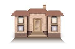 Abrigue o modelo moderno da casa de campo com um fundo do branco do vetor da entrada dianteira ilustração stock