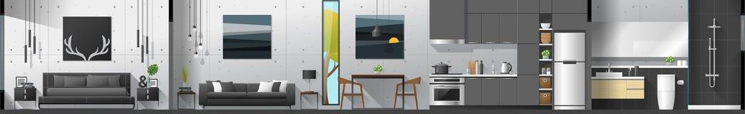 Abrigue o panorama interior da seção que inclui o quarto, a sala de visitas, a sala de jantar, a cozinha e o banheiro