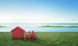 Abrigue o símbolo com ícone dos povos no terraço e grama verde perto da piscina na venda dos bens imobiliários ou no conceito do  Fotografia de Stock
