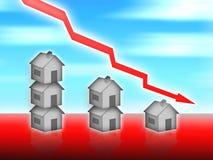 Abrigue o valor dos bens imóveis para baixo Ilustração Stock