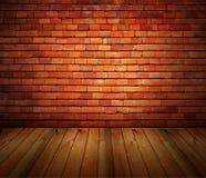 Abrigue a parede de tijolo do grunge e o assoalho interiores da madeira imagens de stock royalty free