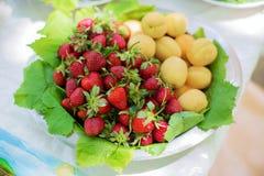 Abrikozen en aardbeien in de kom Verse vruchten royalty-vrije stock foto