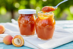 Abrikozenjam in glaskruiken met vers fruit Stock Afbeelding