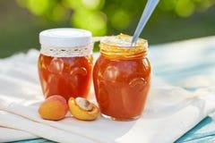 Abrikozenjam in glaskruiken met vers fruit Royalty-vrije Stock Afbeeldingen