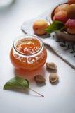 Abrikozenjam met vruchten Royalty-vrije Stock Foto's