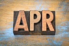 Abril-abril abreviatura del mes en el tipo de madera Foto de archivo libre de regalías