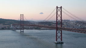 25 abril bridge in Lisbon Portugal at sunset stock video footage