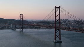 25 abril bridge in Lisbon Portugal at sunset stock footage