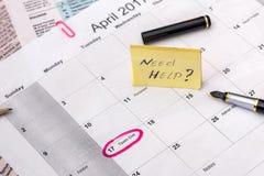 2017 abril com calendário do negócio Fotos de Stock Royalty Free
