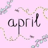 abril Imagen de los colores claros del ejemplo Tarjeta de la estaci?n de primavera Cartel con las hojas verdes, insectos violetas ilustración del vector