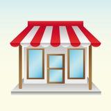 Abriu coisas úteis de uma loja nova com o toldo parcialmente listrado Foto de Stock